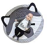 100% Cotone Tondo Bambino Fibra Naturale Tappeto per Bambini Ultra Morbido Caldo Modello Carino per Giocare Addormentato Strisciare 90x90cm(volpe)