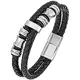 TED COLLINS Edelstahl Herrenarmband geflochtenes Leder, magnetisch schwarz – 2 Jahre Geld-zurück-Garantie – Herrenarmband, Leder-Armband, Magnet-Armband, Herren-Schmuck