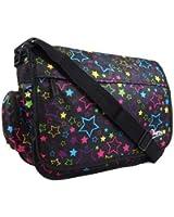 New Girls Womens Chervi Pretty Love Stars School College Laptop Messenger Bag (Black/Pink/Red)