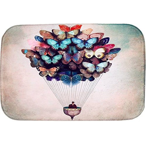 O-C Butterfly balloon Outdoor Indoor Antiskid Absorbent Bedroom Livingroom Bath Mat Bathroom Shower Rugs Doormats