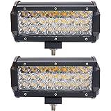 LED Zusatzscheinwerfer 23 Zoll 40W Bernstein LED Arbeitsscheinwerfer Oben Dach Mini Leiste Stroboskop Licht Led Nebellicht Scheinwerfer Bootsbeleuchtung 14 Blinkende Stroboskop-Modi