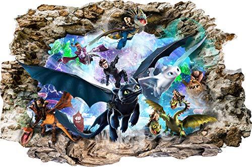 Interpaw Drachenzähmen leicht gemacht Cartoon Smashed Wandaufkleber für Schlafzimmer Jungen und Mädchen Wandbild Aufkleber Größe: Groß 80 cm X 53 cm