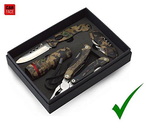 PRAKTISCHES CAMOUFLAGE CAMPING WERKZEUGSET Multi-Tool Multifunktionsset Zangen Messer Taschenlampe Set