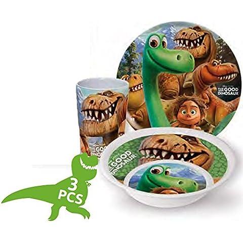 """Set con piatto, ciotola e bicchiere, soggetto: dinosauro Arlo e Spot dal film """"Il viaggio di Arlo"""" Disney, per bambini, in melamina"""