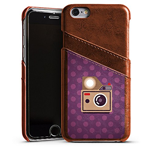 Apple iPhone 5s Housse Étui Protection Coque Photo Caméra Photographie Étui en cuir marron