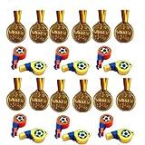 Kaufen-schenken-spielen 12 Fußball-Trillerpfeifen + 12 Medaillen Kindergeburtstag Sport Bunt