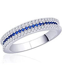Diwali Gifts Peora Sterling Silver Rhodium Micro Pave CZ Something Blue' Ring (PR525B-5)