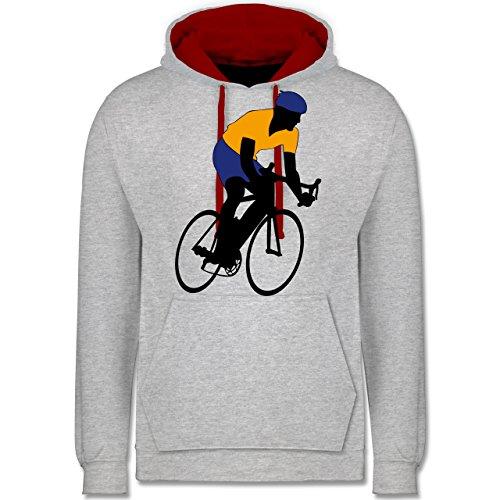 Radsport - Rennradfahrer - Kontrast Hoodie Grau Meliert/Rot