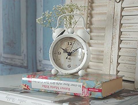 Wecker im Shabby Chic in weiß - Zauberhafte vintage Landhausstil Tischuhr
