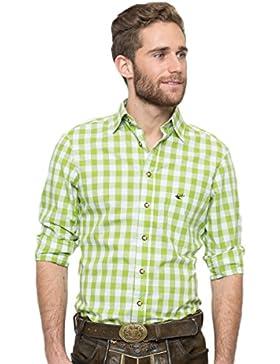 OS-Trachten Herren Trachtenhemd Nico hellgrün/weiß H040063