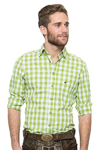 OS-Trachten Herren Trachtenhemd Nico hellgrün/weiß H040063 46