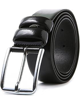 LUCHENGYI Cinturón Negro Hombre 100% Cuero Liso Auténtico Hecho en Italia Hebilla de Perno 35mm