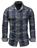 Pinkpum Kariertes Herren Langarmhemd mit Krempelarm - Fitted Herren-Hemd,Hemd,Trachten-Hemd Blau 1 XL