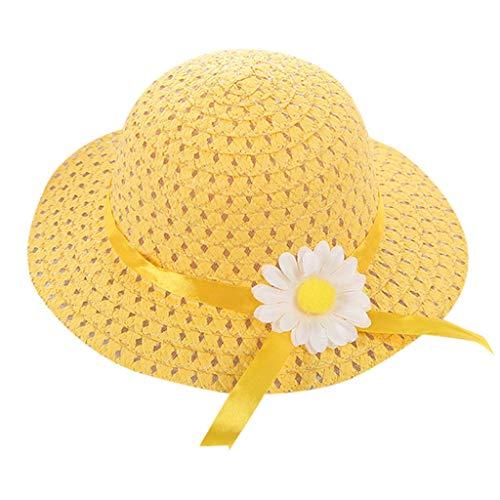 Floral 5'3 (Summer 1-6Y Baby Kids Girl Floral Flower Straw Visor Sun Hat Beach Hats)