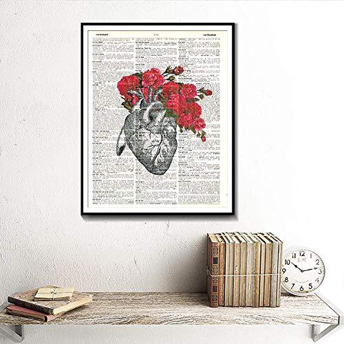 KAOLWY Gemälde Kunstwerk Poster Imprägniern Anatomische Herz-Und Blumen-Blumen-Druck-Wörterbuch-Kunst-Plakate Und Drucke Aquarell-Ausgangsdekoration-Segeltuch-Malerei 50Cmx70Cm -