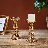 Set aus 10 Gold-Metall-Säulen-Kerzenhaltern, Hochzeit Mittelstücke Kerzenständer Kerzenständer Dekoration Ideal für Hochzeiten, Besondere Anlässe, Partys (Passend für 50mm Dia Kerze 15cm H, 10 Pcs) - 3