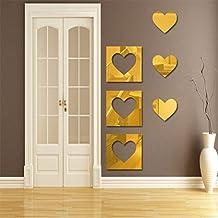 hunpta 6pieza 3d espejo Hexagonal vinilo extraíble adhesivo pared decoración del hogar arte DIY