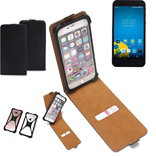 K-S-Trade Flipstyle Case für Vestel 5000 Dual-SIM Schutzhülle Handy Schutz Hülle Tasche Handytasche Handyhülle + integrierter Bumper Kameraschutz, schwarz (1x)