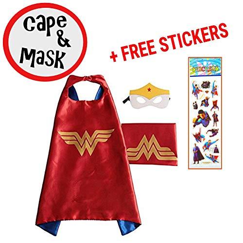 SquishyBean Umhang für Kinder, mit Wonder Woman-Kostüm, Superhelden-Verkleidung, Avengers-Kostüm Wonder Woman-Kostüm