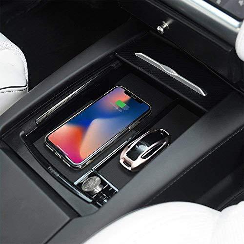 Qi Wireless Car Charger Kompatibel mit Model S und Model X, Zubehör für die Mittelkonsole mit Wireless Charging für Modell S und Modell X