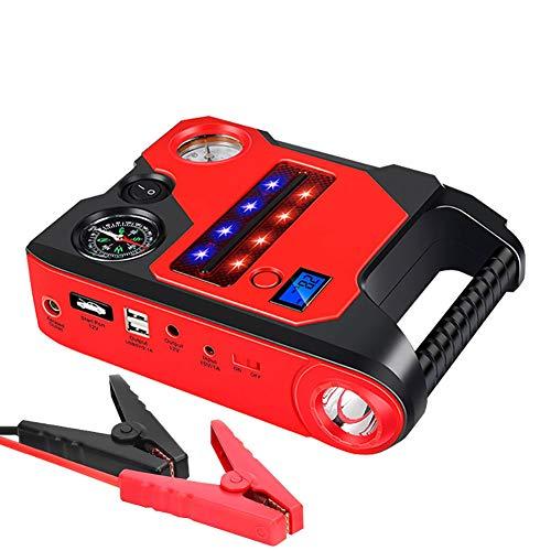 WYYHAA Starthilfe Powerbank, 1200A Peak-22000Mah (Bis Zu 6.0L Gas / 3.0L Dieselmotor) Luftkompressor Elektrische Luftpumpe Mit Smart-Ladeanschluss Kompass LCD-Bildschirm LED-Taschenlampe
