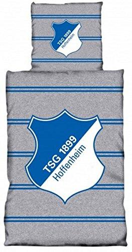 TSG 1899Hoffenheim Parure de lit Linon rayures double avec boutons 135x 200Gris