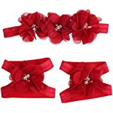 Bestpriceam HOT Colorful Foot Flower Barefoot Sandals + Headband Set For Baby Infants Girls (red)