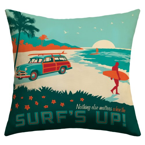 Leugnen Designs Anderson Design Gruppe Stadt Muster Grenze Outdoor Decke Kissen 18 by 18-Inch Surfs Up Surf-throw-kissen