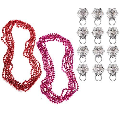 Mardi Gras Perlen (22 Stück) LED Blinkende Holperige Ringe - 5 Bordeaux Rot, 5 Pink Metallic Tschechische Perle Girlande, 12 LED Blinkende Holperige Ringe Party Favor für Hochzeit, ()