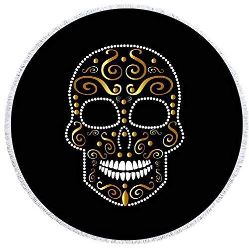 Ta-weo Schwarze runde Matten 150cm Punk Strandtuch Bedruckt mit Quaste Kaktus Decke Picknick Mikrofaser große Matten (Color : 6, Size : 150CM) (Strandtuch Punk)