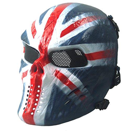 HCFKJ Airsoft Paintball Full Face Schädel Skelett CS Maske Tactical Military Halloween (BLAU)