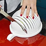 LUKZER Kitchenware 1 PC Plastic Multipurpose-Strainer Bowl And Salad Cutter Bowl/Fruit Cutter Bowl / Vegetable Cutter Bowl To Slice Fruits And Vegetables With Ease , White