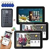 Xianxian88 Campanello Video Senza Fili, 9 Pollici 3 Display cablato/Wireless, Telefono videocitofono Campanello, Telecamera cablata 1000TVL, Adatto per Villa, casa, Campanello d'ufficio