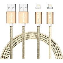 Cable Lightning Magnético [2Pack 1M] - GARANTÍA DE POR VIDA - EVIISO Carga de Movil Magnética Cargador iPhone Nylon Cable de Carga y Sincronización Datos con LED Indicator para iPhone iPad - Oro