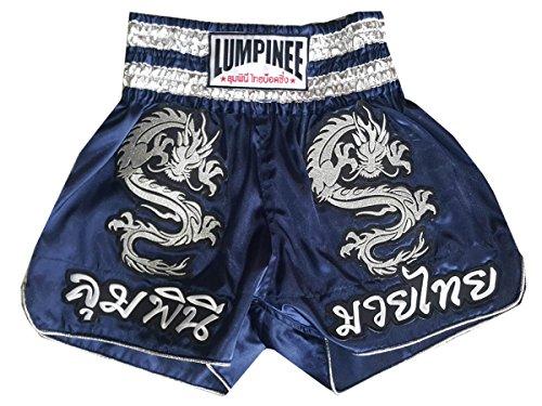Lumpinee Muay Thai Kick Boxen Hose Shorts : LUM-038-Navy Size S (Twins Muay Thai Shorts)