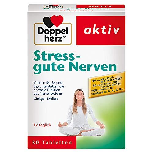 Doppelherz Stress – gute Nerven – Nahrungsergänzungsmittel mit den Vitaminen B1, B2, B6 und B12 für die normale Funktion des Nervensystems – Mit Ginkgo & Melisse – 1 x 30