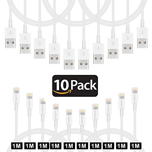 1M Lightning-Kabel, iPhone-Ladegerät 8pin feel2nice 10 Stück 1 m USB-Daten-Sync-Ladegerät für Apple iPhone X/8/7S Plus/SE/5/5 C/5S, iPad Air/Mini/4, iPod Generation/iPod Touch 5. Generation/iPod Nano 7, iPod Generation, Weiß