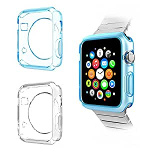 Apple Watch Case, Moko [2-PACK] Ultra Slim Flexible Soft TPU Transparent Full Body Apple Watch Cover for Apple Watch 42mm Version (2015) - Crystal BLUE & Clear (Will Not Fit Apple Watch 38mm 2015)