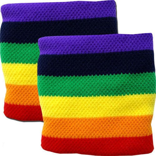 Paar Frottee-Gay Lesbian Lesben Stolz-Regenbogen-Handgelenk-Schweißbänder Armbänder Sport Eishockey