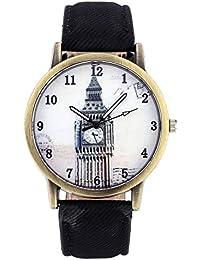 JSDDE Montre à Quartz Unisex Londres Big Ben Vintage boîtier de Montre Ancient Bronze Ligne de Toile Bracelet PU Noir