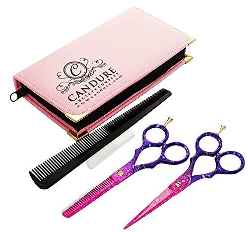 CANDURE® - 5.5'' profesionales tijeras de la peluquería, Peluquería Tijeras + tijeras de reducción de peluquería., Pelo tijeras de reducción fijados para Barberos incluyendo accesorios GRATIS- profesional tijeras de peluquero,tijeras de peluquería - (Rosa Honey Comb Set).