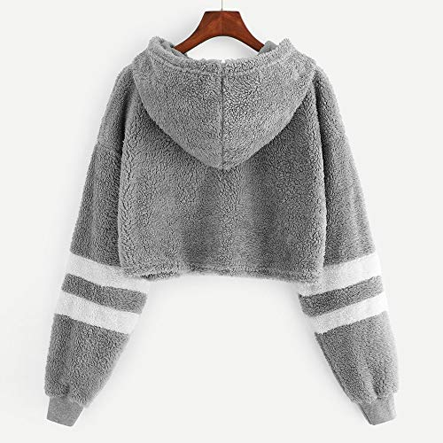 Damen Frühling Herbst Dünn Shirt, LeeMon Women Stripe Plush Drawstring Hoodie Sweatshirt Jumper Pullover Embroidery Top