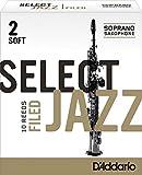 Rico Anches sélectionnées Rico Jazz pour saxophone soprano, coupe à la française, force 2-Soft, pack de 10