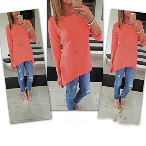 Femmes Chemisier, Transer ® Vêtements femme lâche T-Shirt Blouse couleur unie en tête de trois quarts Orange