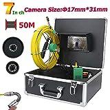 GW 20M/30M/40M/50M 7inch 17mm Industrielle Pipe d'égout Inspection caméra vidéo IP68 étanche Tuyau de vidange d'égout Inspection système de caméra 1000 TVL caméra avec 8pcs LED lumières,50M