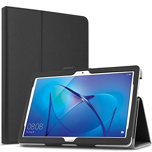Infiland Huawei MediaPad T3 10.0 Étui Housse, PU Cuir Etui en Cuir Végétale Fin De Haute Qualité Stand Folio Case pour Huawei MediaPad T3 10.0 (9.6 Pouces) Tablet(Noir)