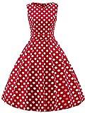 FAIRY COUPLE 50s Retro Blumen Cocktail Schwingen Party Kleid mit Bogen DRT017(S,Rote weiße Punkte)