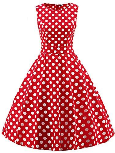 FAIRY COUPLE 50s Retro Blumen Cocktail Schwingen Party Kleid mit Bogen DRT017(XL,Rote weiße Punkte)