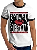 BATMAN VS SUPERMAN Text & Logo, Camiseta para Hombre, Blanco (White), X-Large
