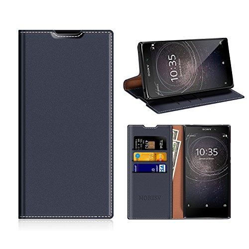 MOBESV Sony Xperia L2 Hülle Leder, Sony Xperia L2 Tasche Lederhülle/Wallet Case/Ledertasche Handyhülle/Schutzhülle mit Kartenfach für Sony Xperia L2 - Dunkel Blau